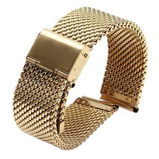 LVONTRE Polish Shinning Metal Mesh Watch Replacement Straps Milanese SS Bands Inox Steel for Mens Watches