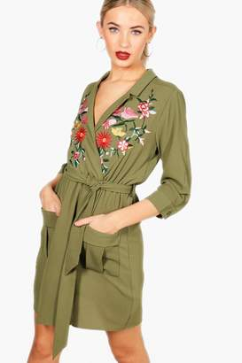 boohoo Embroidered Front Tie Waist Shirt Dress