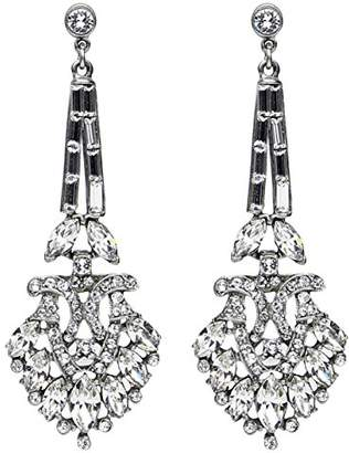 Ben-Amun Jewelry Women's Pearl & Crystal Post Drop Earrings for Bridal Wedding Anniversary