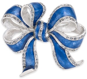 Holiday Lane Silver-Tone & Blue Pave Bow Pin, Created For Macy's