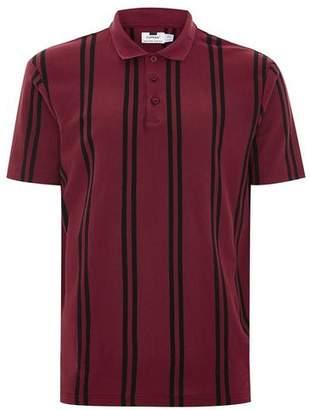 Topman Mens Red Burgundy Stripe Pique Polo
