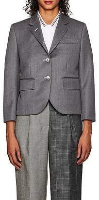 Thom Browne WOMEN'S WOOL CROP THREE-BUTTON BLAZER - GRAY SIZE 44 IT