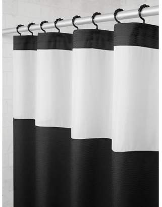 Smart Curtain Mainstays Hendrix View Fabric Shower Curtain with Attached Roller Glide Hooks, 70 inch x 72 inch, Black / White Stripe