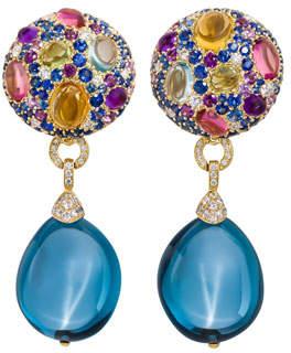 Margot McKinney Jewelry Carnivale Denim Blue Topaz Earrings with Diamonds