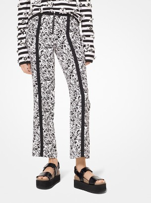 Michael Kors Painterly Floral Crepe Cady Cropped Pants