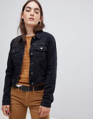Asos DESIGN denim shrunken jacket in washed black