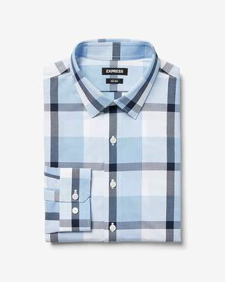 Express Slim Plaid Non-Iron Performance Shirt