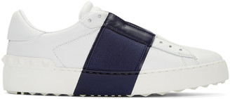 Valentino White & Navy Open Sneakers $745 thestylecure.com