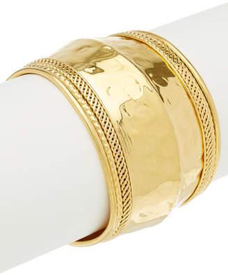 Devon Leigh 18K Yellow Gold Plated Hammered Cuff