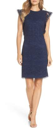 Vince Camuto Lace Ruffle Sleeve Sheath Dress
