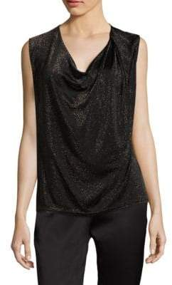Escada Metallic Cowlneck Top