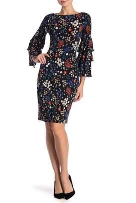 Modern American Designer Ditsy Printed Triple Sleeve Dress