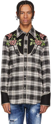 DSQUARED2 Black and Grey Check Western Shirt