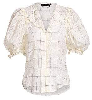 Isabel Marant Women's Aries Puff Sleeve Zip Front Blouse