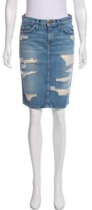 Current/Elliott Distressed Denim Skirt