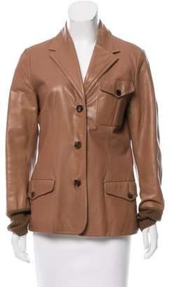 Hermès Leather Notch-Lapel Blazer