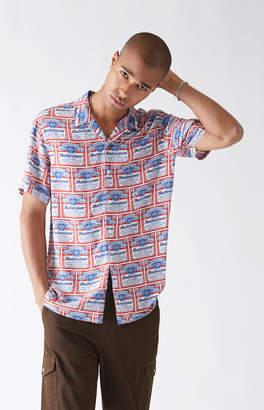 PacSun x Budweiser Bud All Over Label Short Sleeve Button Up Camp Shirt