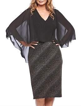 Layla Jones Chiffon Cape Two Tone Jersey Knit Cocktail Dress