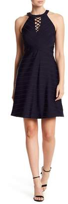 GUESS Striped Lace-Up Bib Dress
