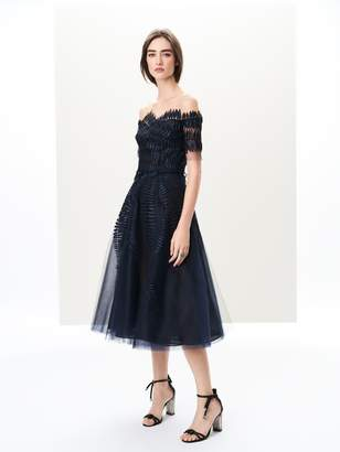 Oscar de la Renta Illusion-Neck Lamé Fern Appliquéd Cocktail Dress