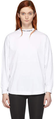 Palm Angels White Logo Oversized Long Sleeve T-Shirt