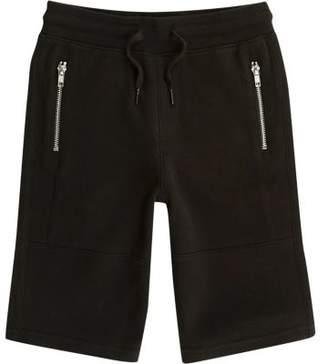 River Island Boys black pique zip pocket shorts