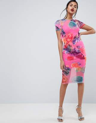 Asos Design Printed Mesh Midi Dress With Frill Detail
