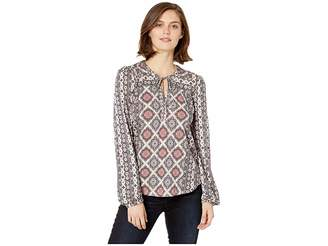 Lucky Brand Printed Top with Tassles