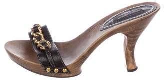 Dolce & Gabbana Leather Slide Sandals