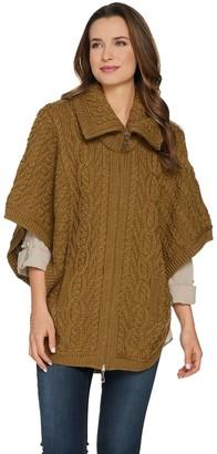 Aran Craft Merino Wool Zip Front Cape