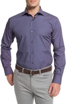 Peter Millar Poppy-Print Long-Sleeve Sport Shirt, Navy