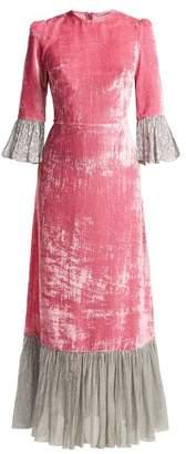 The Vampire's Wife - Festival Crushed Velvet Dress - Womens - Pink Silver