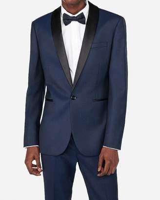 Express Extra Slim Navy Dobby Wool-Blend Tuxedo Jacket