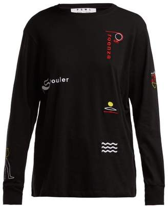 Proenza Schouler Pswl - Embroidered Long Sleeved Cotton T Shirt - Womens - Black Multi