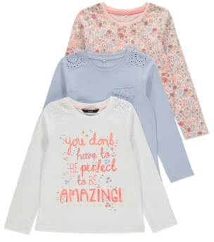 George Floral Slogan Long Sleeve Tops 3 Pack