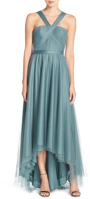 Women's Monique Lhuillier Bridesmaids V-Neck Tulle High/low Gown $280 thestylecure.com