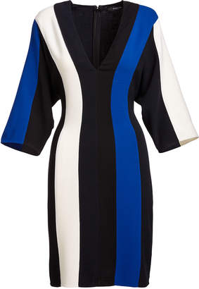 Derek Lam Batwing-Sleeve Colorblock V-Neck Dress, Blue/Multi