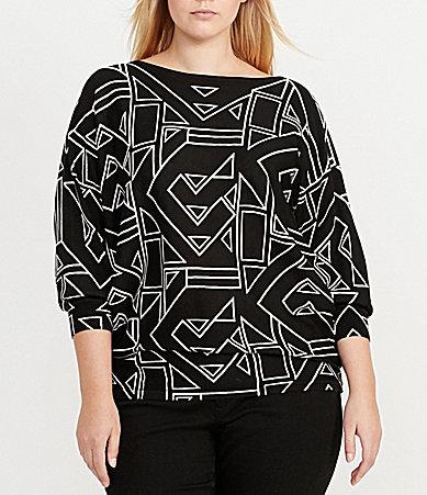 Lauren Ralph LaurenLauren Ralph Lauren Plus Bateau Neck Dolman Sleeve Geometric-Print Sweater