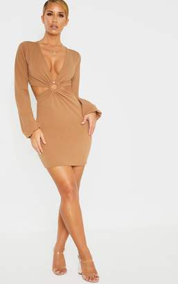 PrettyLittleThing Tan Ring Detail Cut Out Bodycon Dress