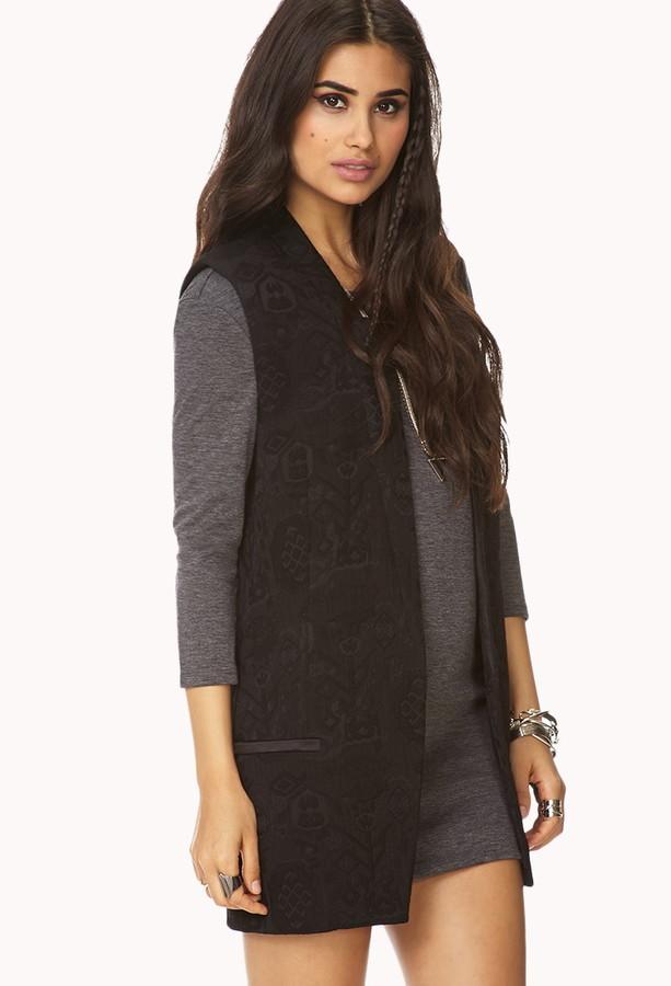 Forever 21 Futuristic Longline Textured Vest