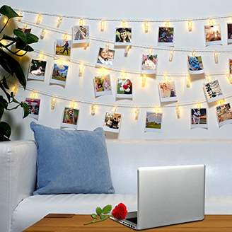 40 LED Photo Clips String Lights - Wall Hanging Clothespin Picture Display Peg Card Holder