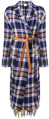 Forte Forte belted plaid coat