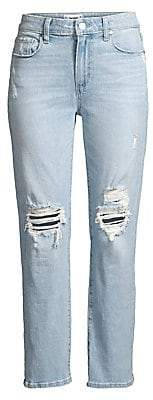 Paige Women's Noella Distressed Straight-Leg Jeans