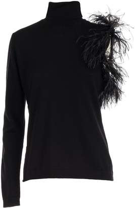 P.A.R.O.S.H. Sweater Turtle Neck Sleeve W/plumes