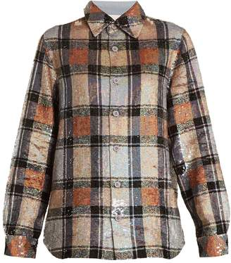 Ashish Button-down checked sequin-embellished shirt