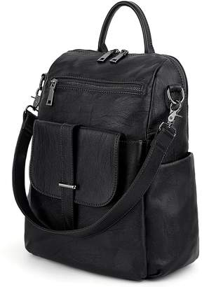 aa77293c985b UTO Women Backpack Purse PU Washed Leather Convertible Ladies Rucksack  Front Belt Pocket Shoulder Bag CA