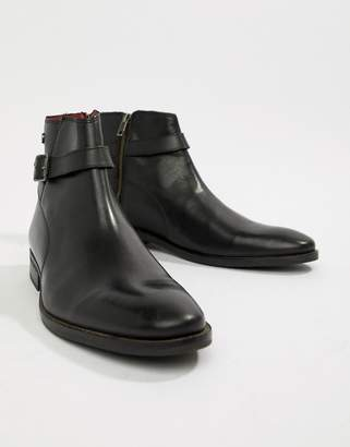 Base London Fern chelsea buckle boots in black