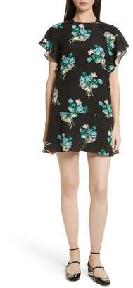 RED Valentino Floral Silk Crepe de Chine Dress