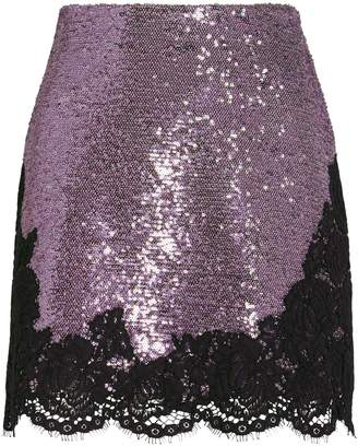 Philosophy di Lorenzo Serafini Lace-Trimmed Sequined Mini Skirt