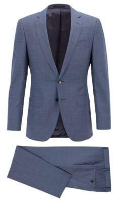 BOSS Hugo Slim-fit suit in patterned virgin wool buttonhole 42L Open Blue